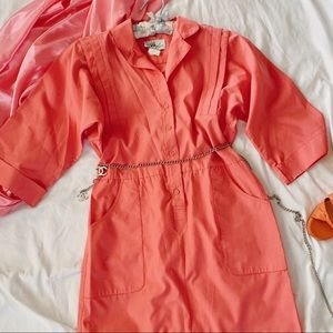 Vintage 60s RARE Bubblegum Pink Shift Dress